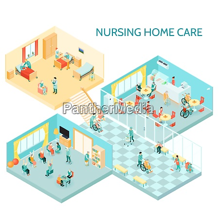 nursing home care facility isometric composition