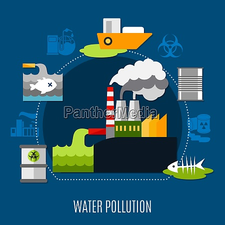 water pollution concept with factory and