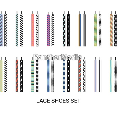 modern colored patterned shoelaces pairs icons