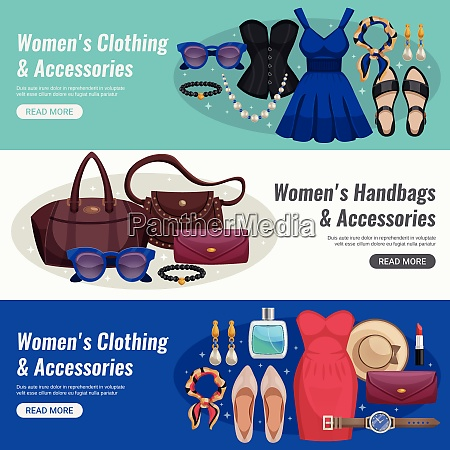 three colored women accessories horizontal banner