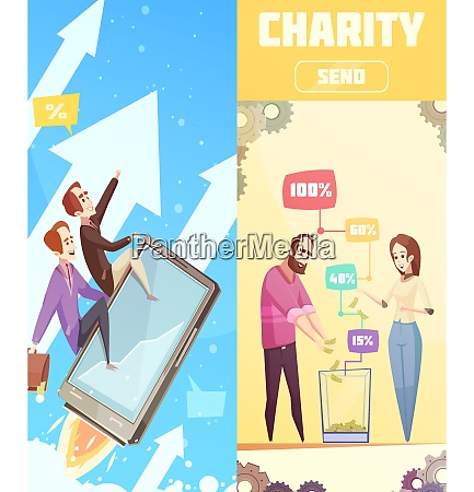 two flat vertical banners on crowdfunding