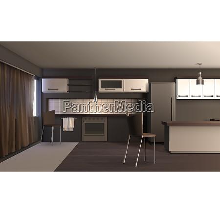 modern kitchen interior realistic design composition