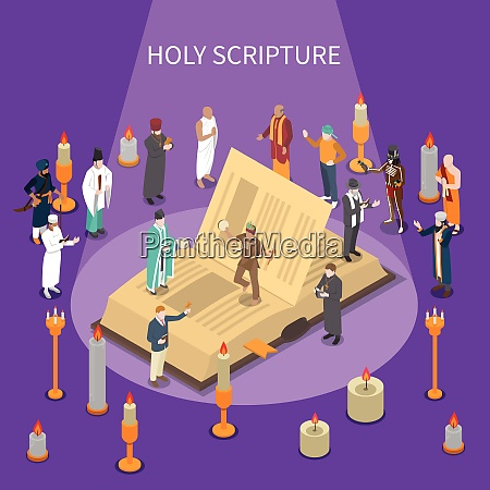 holy scripture isometric composition with open