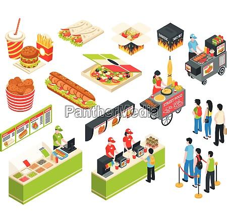 fast food cart cafe restaurant isometric
