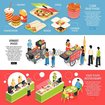 fast food restaurants streets mobile carts