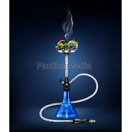 colored and isolated stylish realistic hookah