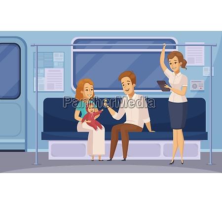 subway passengers in underground metro train