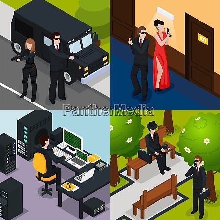 special agent isometric concept with action