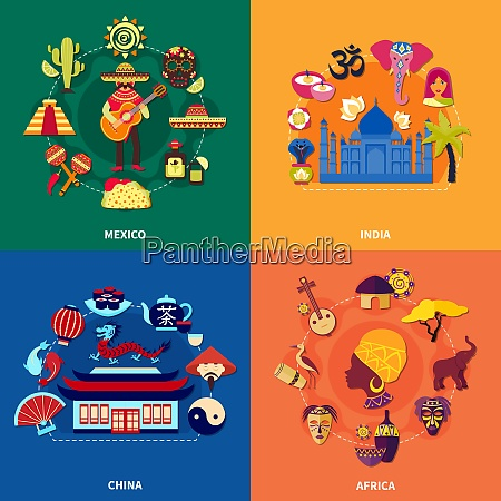 travel to various countries 2x2 icons