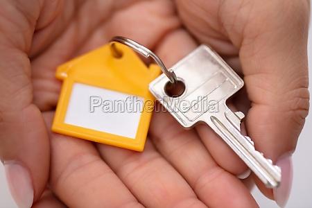close up of house key on