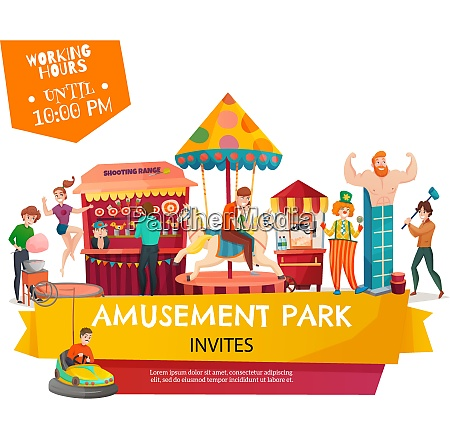 people in amusement park poster with