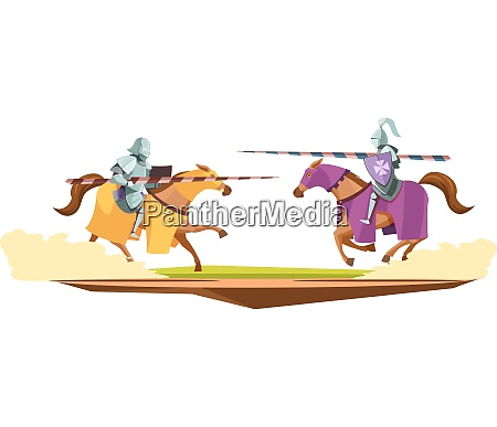 medieval knits tournament cartoon composition with
