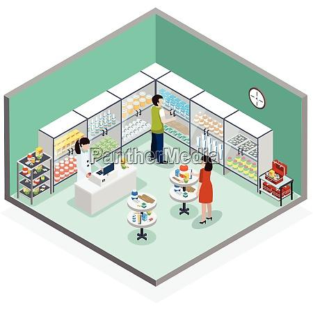modern pharmacy drugstore interior with customers