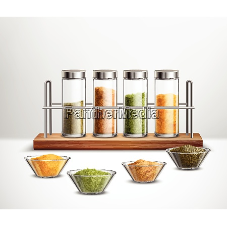 realistic spices in bowls and glass