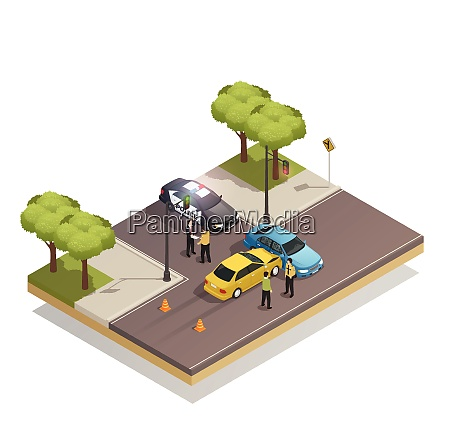 road collision at intersection isometric composition