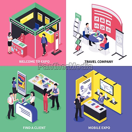 isometric expo stand exhibition design concept