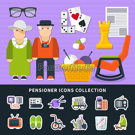 pensioner flat colored icon set with