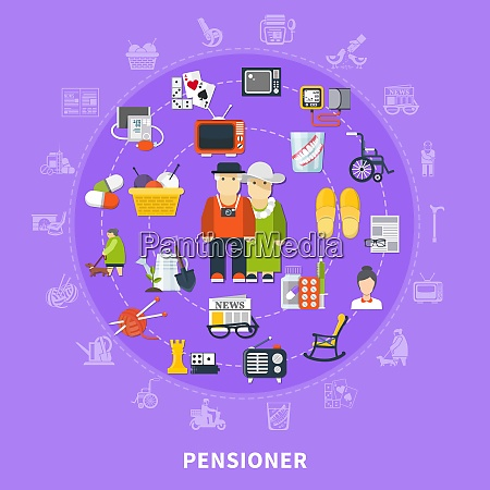flat pensioner colored concept with icon