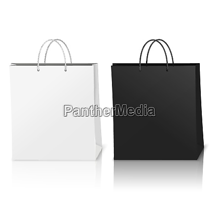 black and white shopping bags mockup