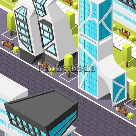 fragment of city pedestrian zone with