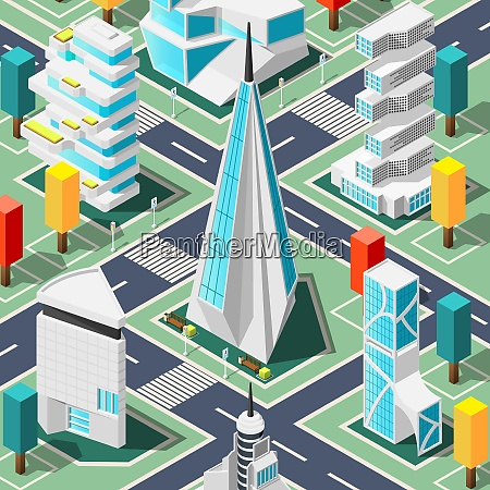futuristic city top view background with
