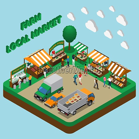 farm local market isometric composition with