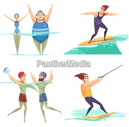 people doing water sports 2x2 cartoon