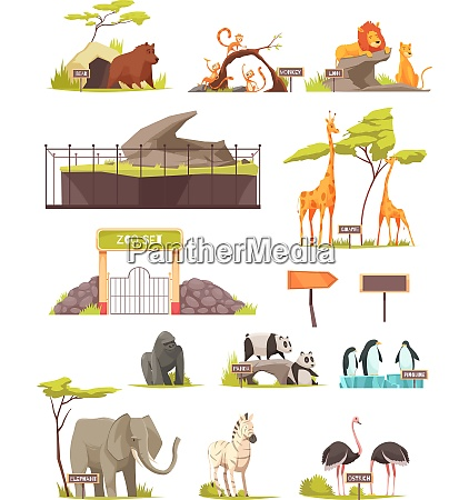 zoo animals cartoon icons collection with