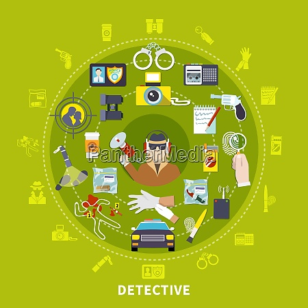 detective round composition with detective and