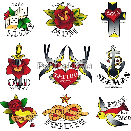 old tattooing school isolated colored emblems