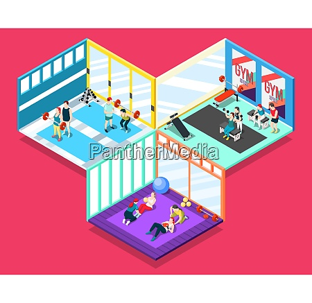 gym isometric design concept with people