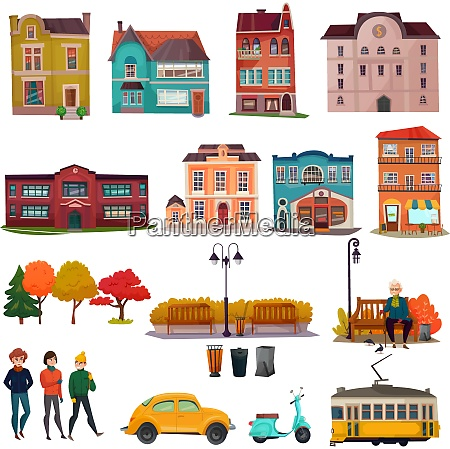 city environment isolated icons set of