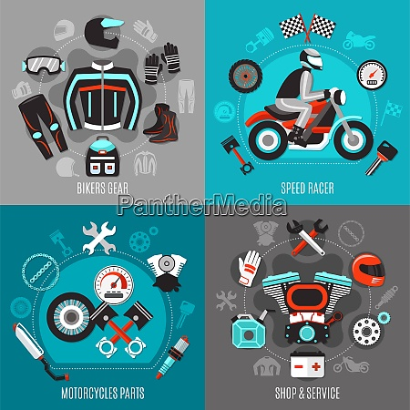 motorcycle 2x2 design concept with bikers