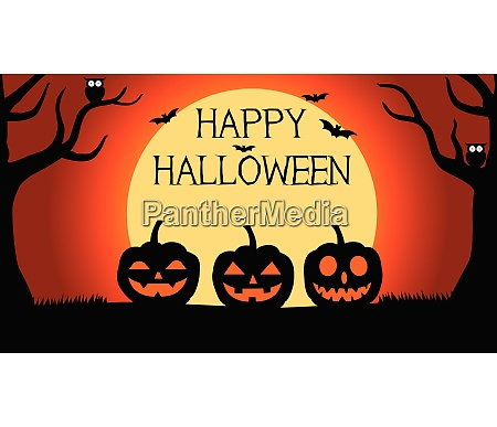 halloween background with silhouettes of pumpkins