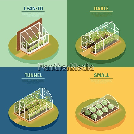 greenhouses conservatory varieties 4 isometric icons