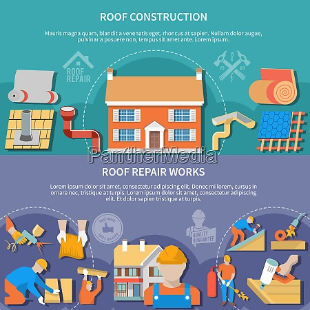 two flat and horizontal roofer banner