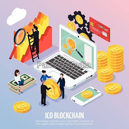 ico blockchain concept isometric composition on