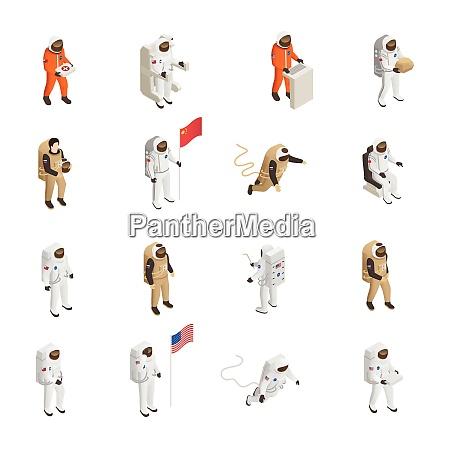 astronauts explorers in spacesuit figures isometric