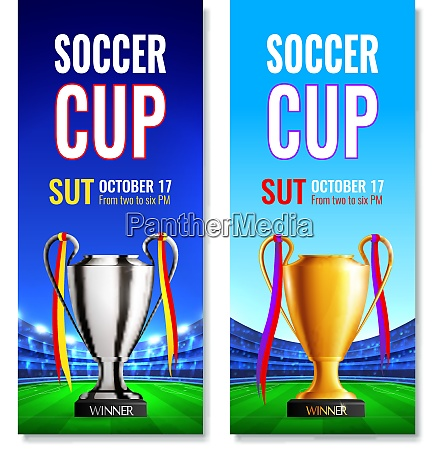 soccer cup two vertical banners with