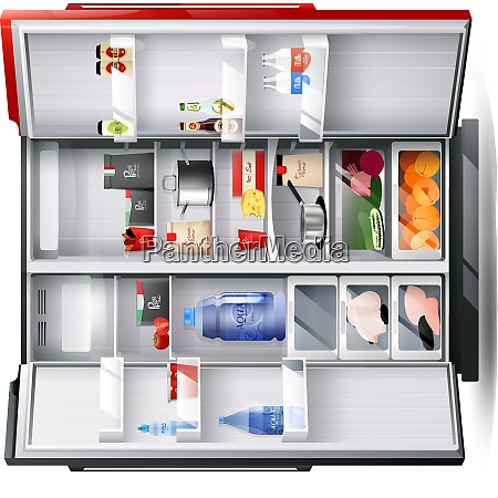 open refrigerator with two red and