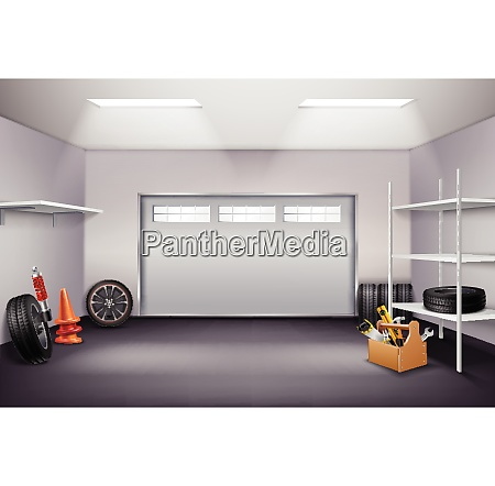 garage interior realistic composition with tyres