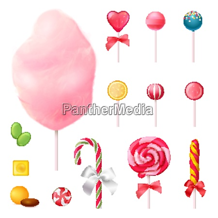 sweets set of realistic icons with