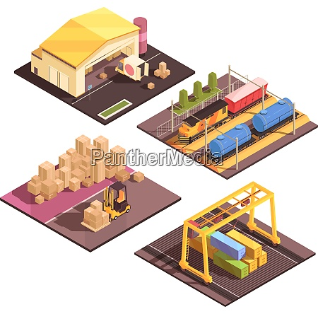 isometric logistic design concept with set