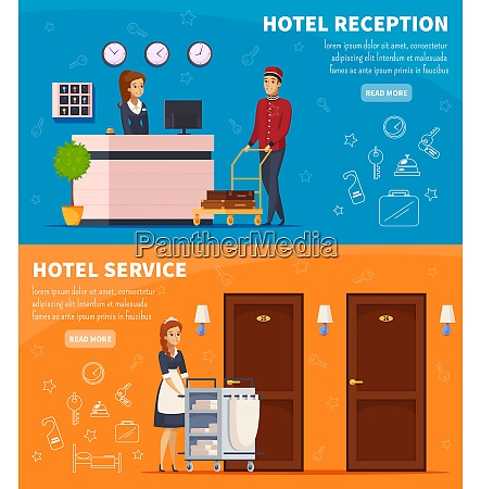 hotel service horizontal banners with receptionist