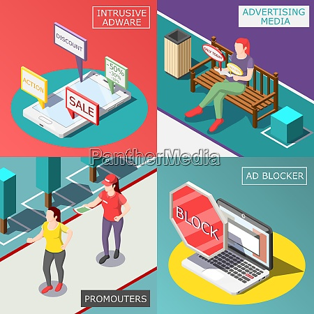 annoying advertisement isometric design concept with