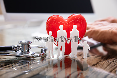 heart with family in front of