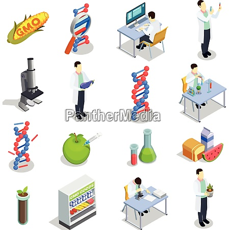 genetically modified organisms set of isometric