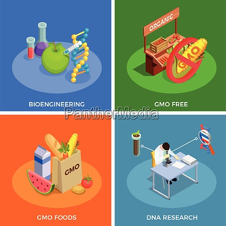 genetically modified organisms isometric design concept