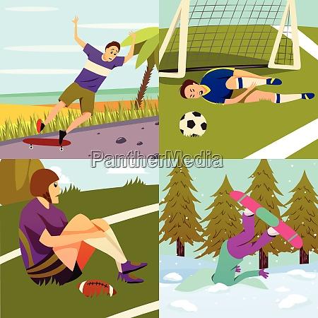 sport injury flat colorful 2x2 design