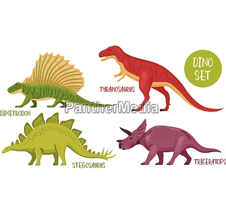 dino set of isolated colourful dinosaur